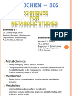 Techniques for Metabolic Study
