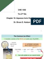 CHE 1302 Tro Ch 16 Aqueous Ionic Equilibrium BB Notes