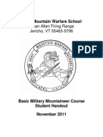 ARMY MOUNTAIN WARFARE SCHOOL MANUAL - BASIC MILITARY MOUNTAINEER COURSE STUDENT HANDOUT