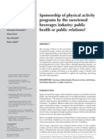 Sponsorship of Physical Activity Programs by the Sweetened Beverages Industry