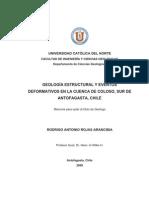 Rojas,R.2009. Geologia Estructural y Eventos Deformativos en La Cuenca de Coloso Sur de Antofagasta Chile