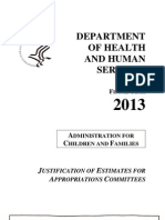 U.S. HHS Budget for Administration for Children and Families FY 2012