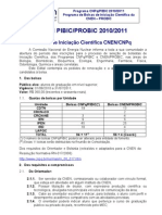 Edital Pibic Probic 2010 2011 Cnen