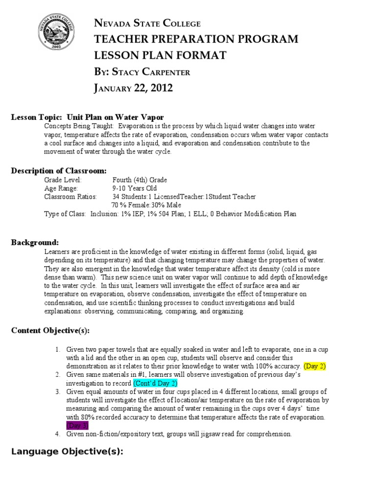 Unit plan water vapor investigation 3 evaporation water vapor pronofoot35fo Gallery