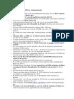Indian Union Budget 2011 Key Announcements