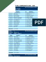 Fixture del campeonato 2008-2009