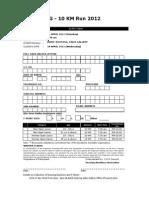 SDGG 2012 10KM Run - Entry Form