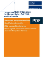 Human Rights in Britain Since the Human Rights Act 1998 - A Critical Review
