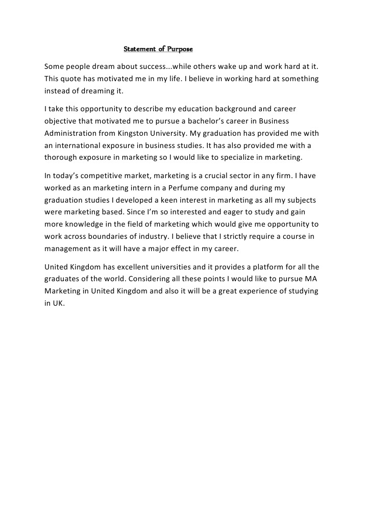 statement of purpose for business studies