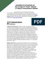 Reputazione Web di un'azienda sui nuovi media Antonio Bettanini per il blog Il Comunicatore Italiano