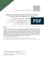 2004. Adsorption Desorptionand Heat of Sorption of Prikly Pear