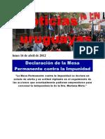 Noticias Uruguayas Lunes 16 de Abril de 2012