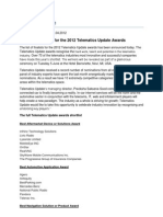 Finalists Revealed for the 2012 Telematics Update Awards