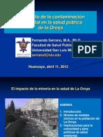 El impacto de la contaminación ambiental en la salud pública de la Oroya - El Mantaro Revive y la Universidad San Luis de Missouri, Junín - Huancayo