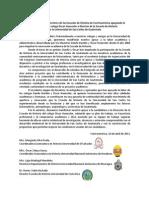 Comunicado de los Directores de Escuela de Historia de Centroamérica apoyando la candidatura del colega Óscar Haeussler a Director de la Escuela de Historia