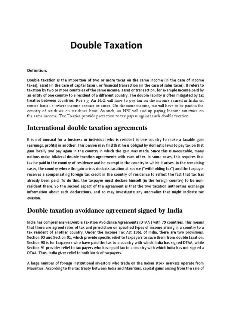 Double taxation assignment double taxation tax treaty platinumwayz