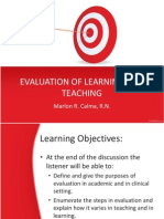 Evaluation of Learning and Teaching