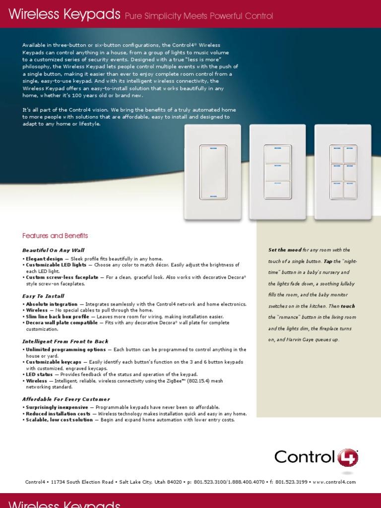 Control4-WirelessKeypads | Wireless | Electronics