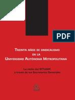 Treinta años sindicalismo SITUAM