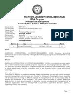 Course Outline- Summer 2009-2010 Semester - Principles of Management