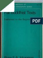 Rune E. A. Johansson - Pali Buddhist Texts, 3ed 1981
