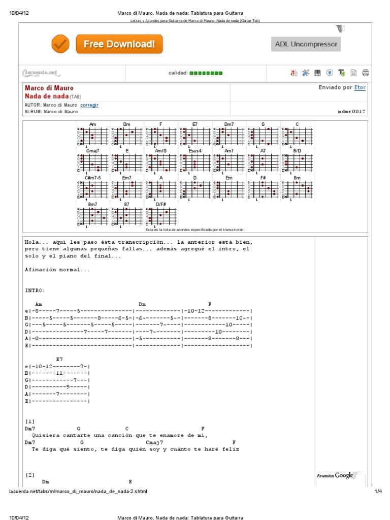 Marco Di Mauro Nada De Nada Tablatura Para Guitarra Notación Musical Composiciones Musicales