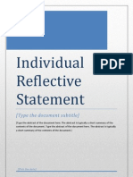 Individual Reflective Statement - Resourcing and Talent Mgmt