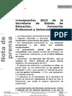 NOTA de PRENSA Presupuestos 2012