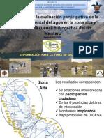 Resultados de la calidad ambiental del agua de la zona alta y media de la cuenca hidrográfica del río Mantaro, El Mantaro Revive, Junín-Perú