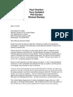 Holder Letter on Arpaio Probe