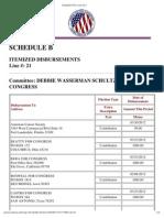 Debbie Wasserman Schultz Political Disbursements, Jan-Mar 2012