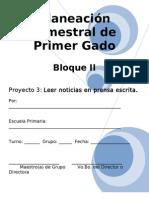 Planeación de 1er Grado - Bloque 2 - Proyecto 3