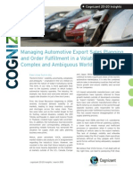Managing Automotive Export Sales Planning and Order Fulfillment in a Volatile, Uncertain, Complex and Ambiguous World