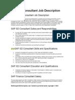SAP SD Consultant Job Description in Word Format