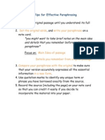 Tips for Effective Paraphrasing