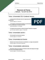 Resumen prensa CEU-UCH 07-04-2012