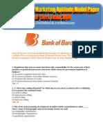 Bank of Baroda Marketing Aptitude Model Paper for Clerk Exam 2011 - TheOnlineGK