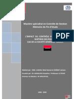 Limpact du contrôle interne sur la maîtrise des risques cas de la société Générale Maroc