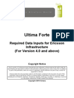 Ultima Forte Required Data Inputs for Ericsson Infrastructure