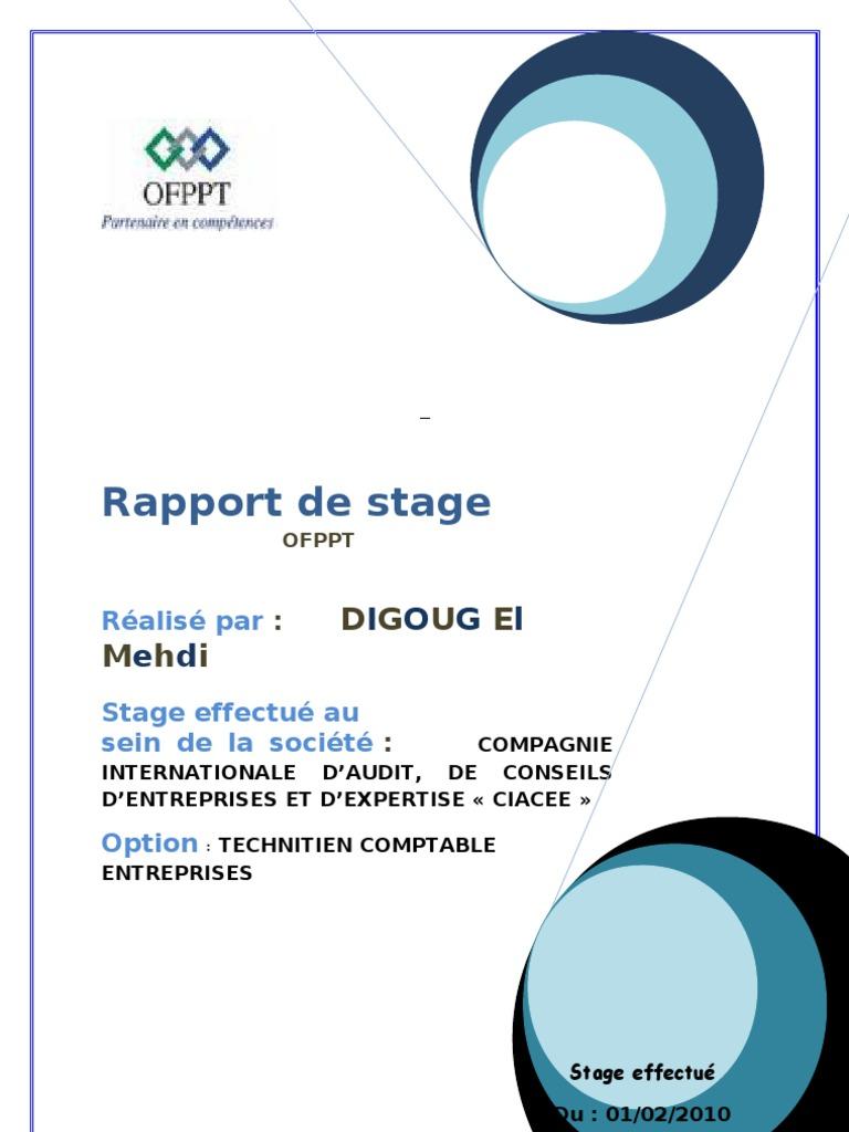 Rapport De Stage En Comptabilité Exemple - Le Meilleur Exemple