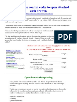 Open Drawer Codes | Printer (Computing) | Office Work