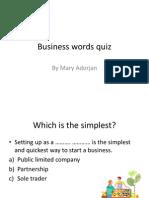 Business Words Quiz