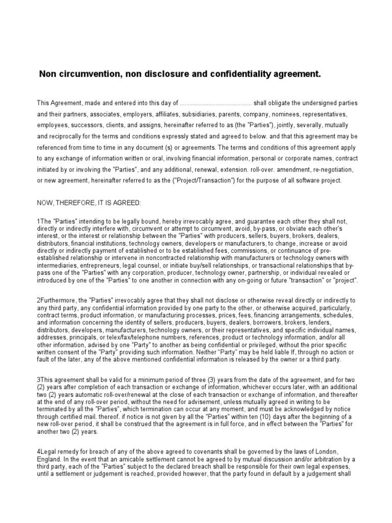 Non Disclosure Agreement Financial Transaction Partnership