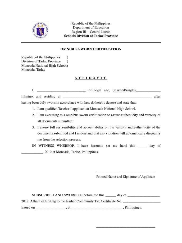 Omnibus Certification of Authenticity.docx | Philippines ...