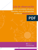 GUIA DE OBSERVACION PARA LA DETECCION DE LAS NECESIDADES EDUCATIVAS ESPECIALES CON O SIN DISCAPACIDAD EN LOS NIÑOS DE EDUCACION INICIAL