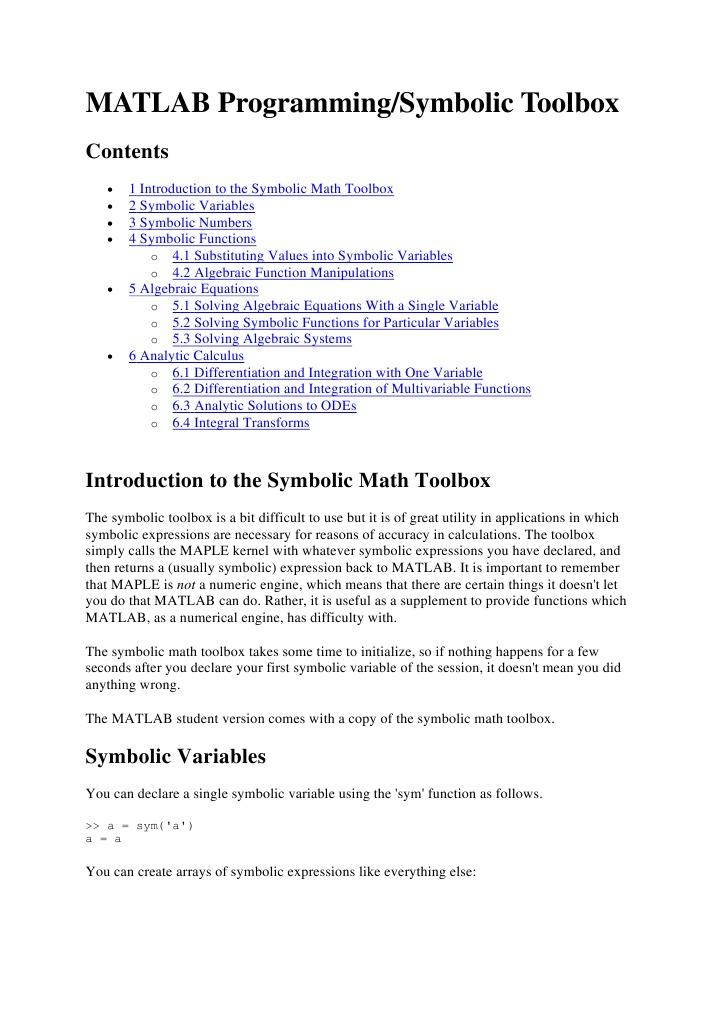 Matlab Symbolic Derivative Variable Mathematics