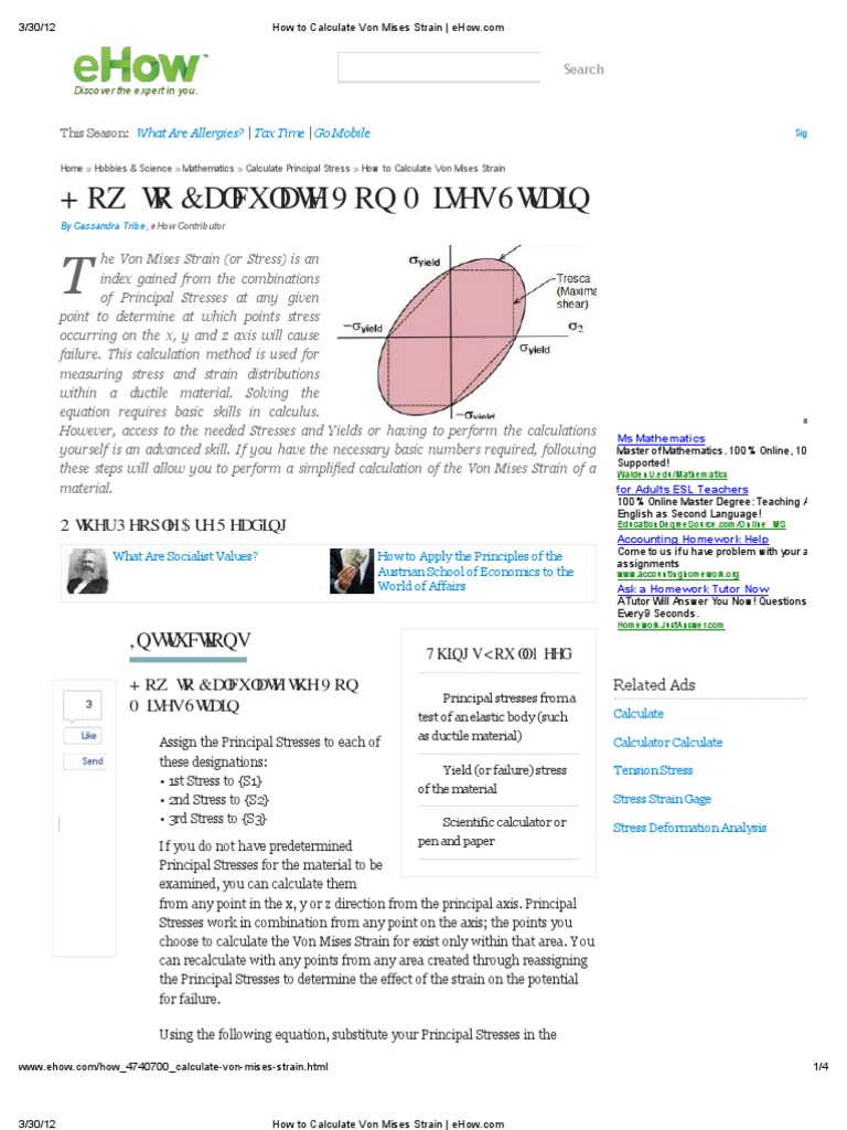 Ehow how to discover the expert in you - How To Calculate Von Mises Strain _ Ehow Stress Mechanics Deformation Mechanics