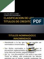 Clasificacion de Los Titulos de Credito