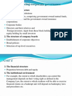 Factors Influencing Corporate Governance