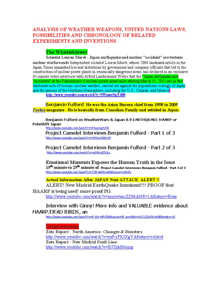 Analysis of weather weapons united nations laws possibilities and analysis of weather weapons united nations laws possibilities and chronology of related experiments and inventions pdf ionosphere electricity fandeluxe Choice Image